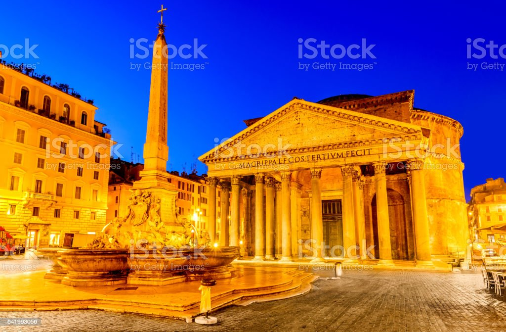 Rome, Italy - Pantheon in the night stock photo