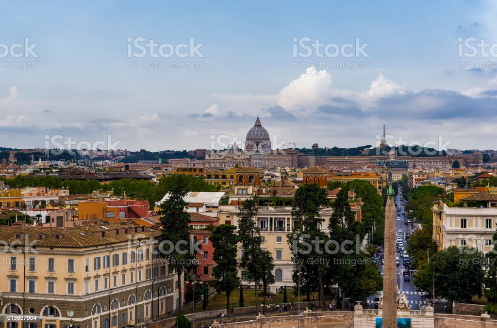 Rome, Italy Pincian Hill Promenade view. stock photo