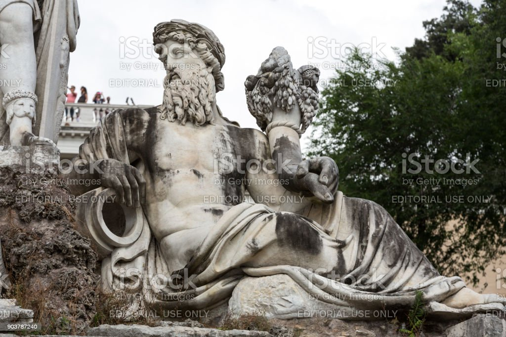 Rome, Italy - Pincio fountain at famous Piazza del Popolo square stock photo