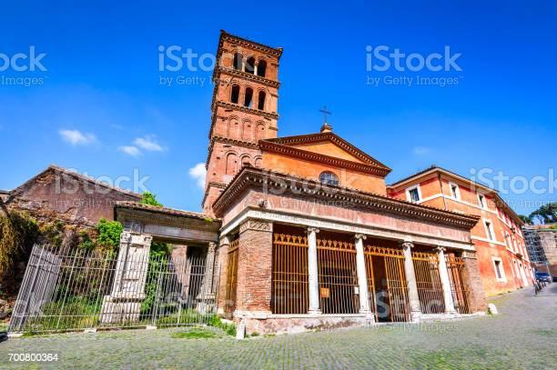 Rome, Italy. Church San Giorgio in Velabro, built by greeks in 7th century, landmark of italian capital city.