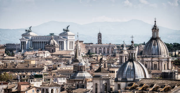 Rome, Italy Skyline in Panoramic View Rome skyline at the city center with panoramic view of famous landmark of Ancient Rome architecture, Italian culture and monuments. Historical Rome is the famous travel destination of Italy. ancient rome stock pictures, royalty-free photos & images