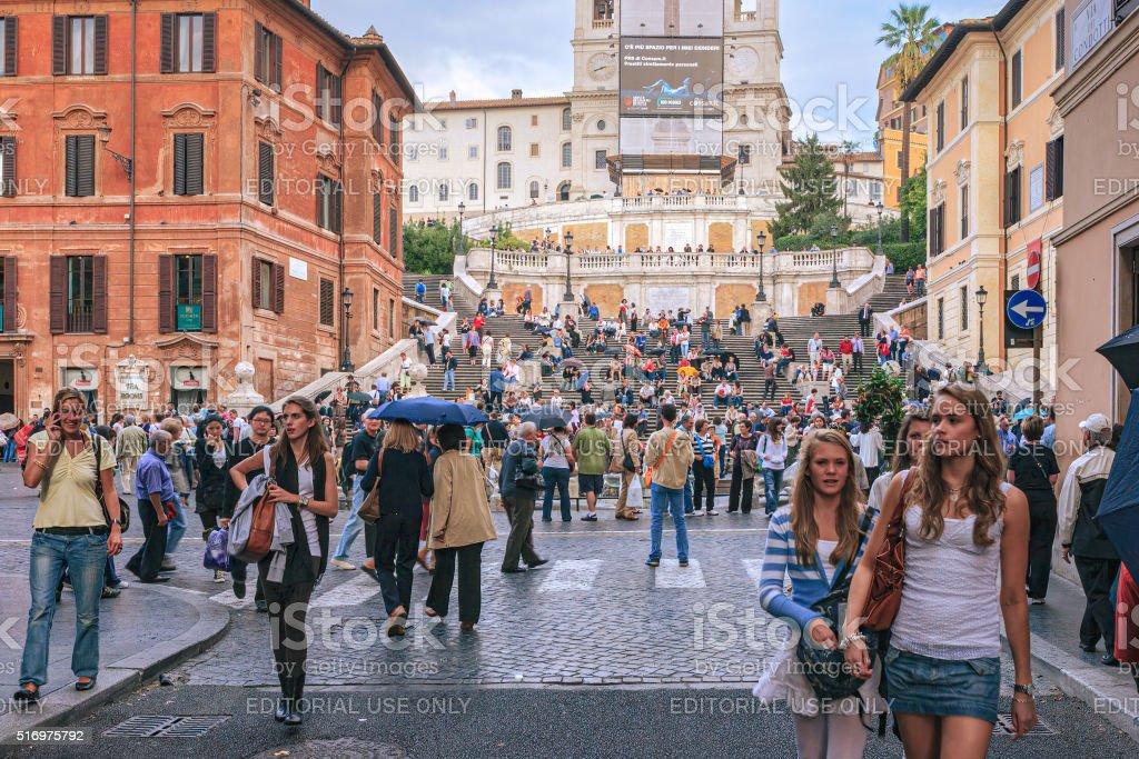 Roma, Itália-Escadaria Espanhola e a Praça di Spagna - foto de acervo