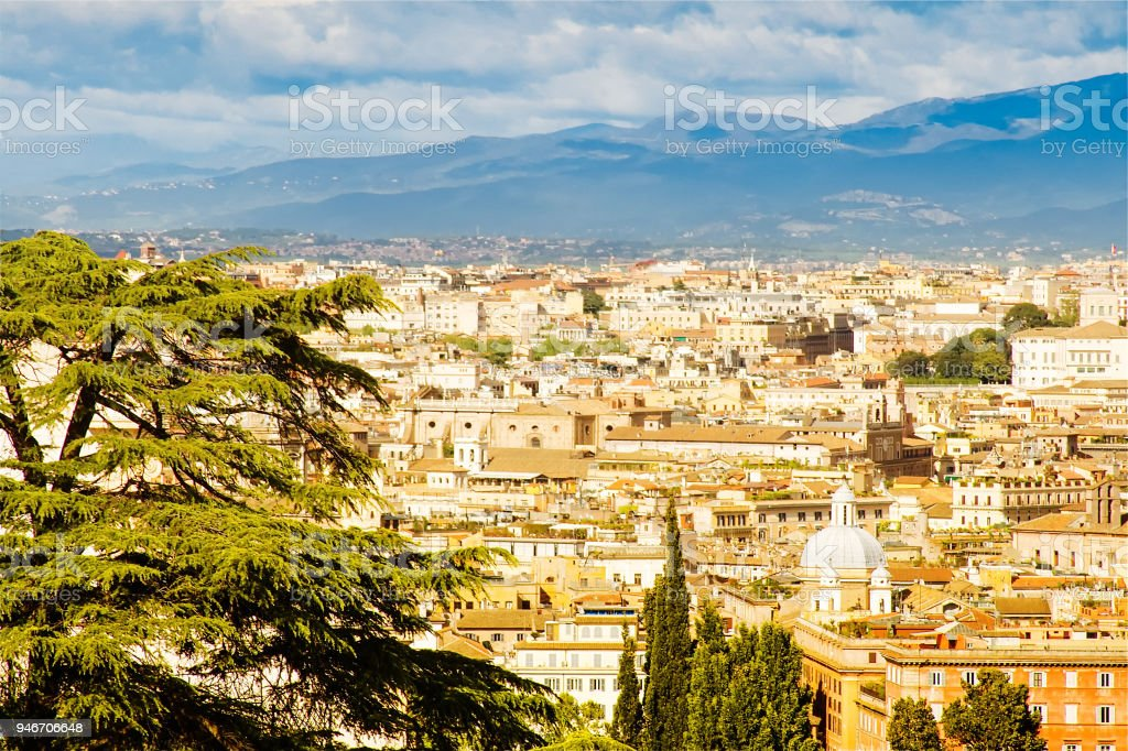 Rome, Italy: Sunlit Panorama as Seen from Janiculum Hill stock photo