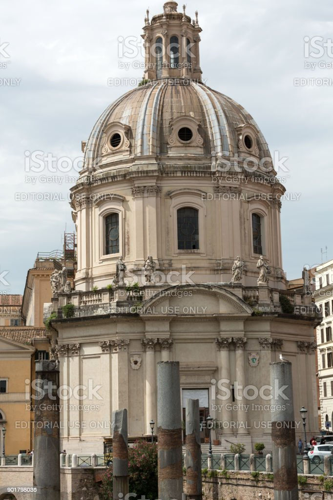 Rome, Italy. The Church of the Most Holy Name of Mary at the Trajan Forum stock photo