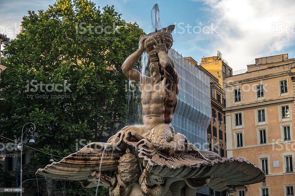 Rome, Italy. Triton Fountain at Barberini square. stock photo