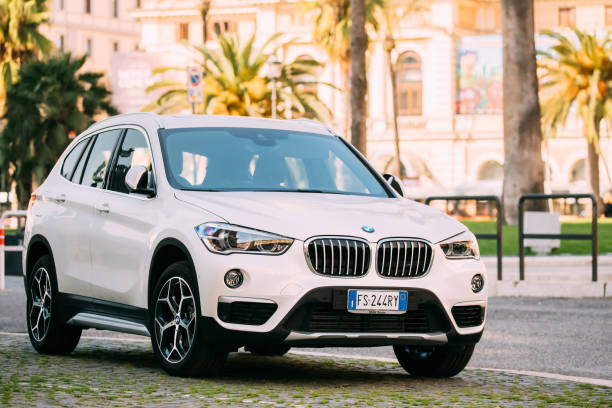 Rome, Italy. White Color BMW X1 Car Of Second Generation F48 Parked At Street stock photo