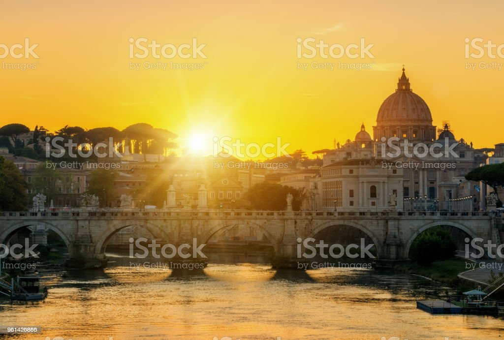 Rome, Italy with St Peter Basilica of the Vatican stock photo