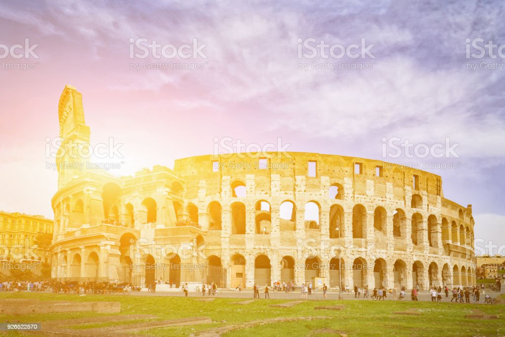 Rome, Italy,The Colosseum or Coliseum,as the Flavian Amphitheatre, is an oval amphitheatre in the centre of the city . Built of concrete,sand,it is the largest amphitheatre stock photo
