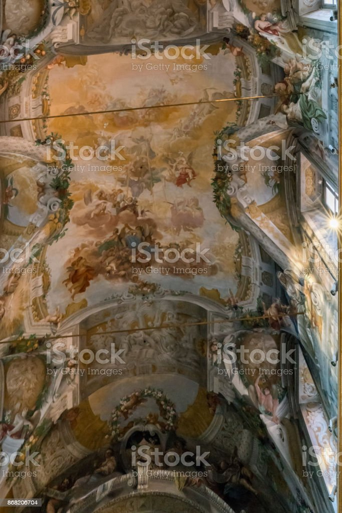 Rome, Lazio, Italy. July 25, 2017: Dome of the Catholic church called 'Santi Domenico e Sisto' with a fresco representing the apotheosis of Santo Domingo stock photo