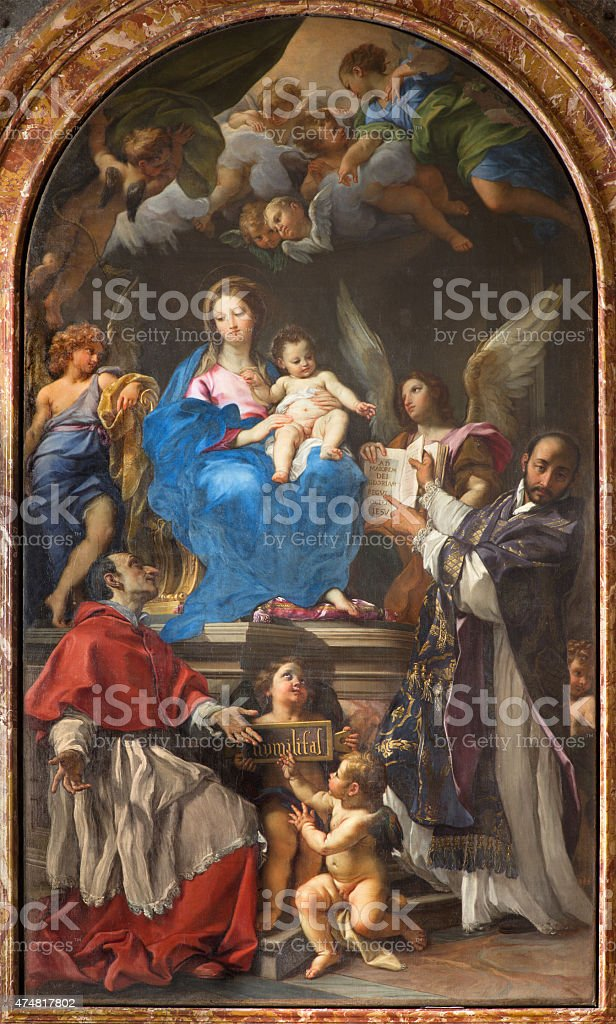 Rome - Madonna Enthroned with SS Charles Borromeo and Ignatius stock photo