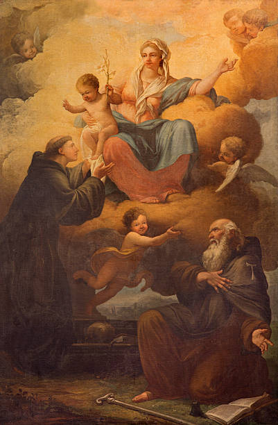 rome - madonna with the saints. - st. anthony of padua stock photos and pictures