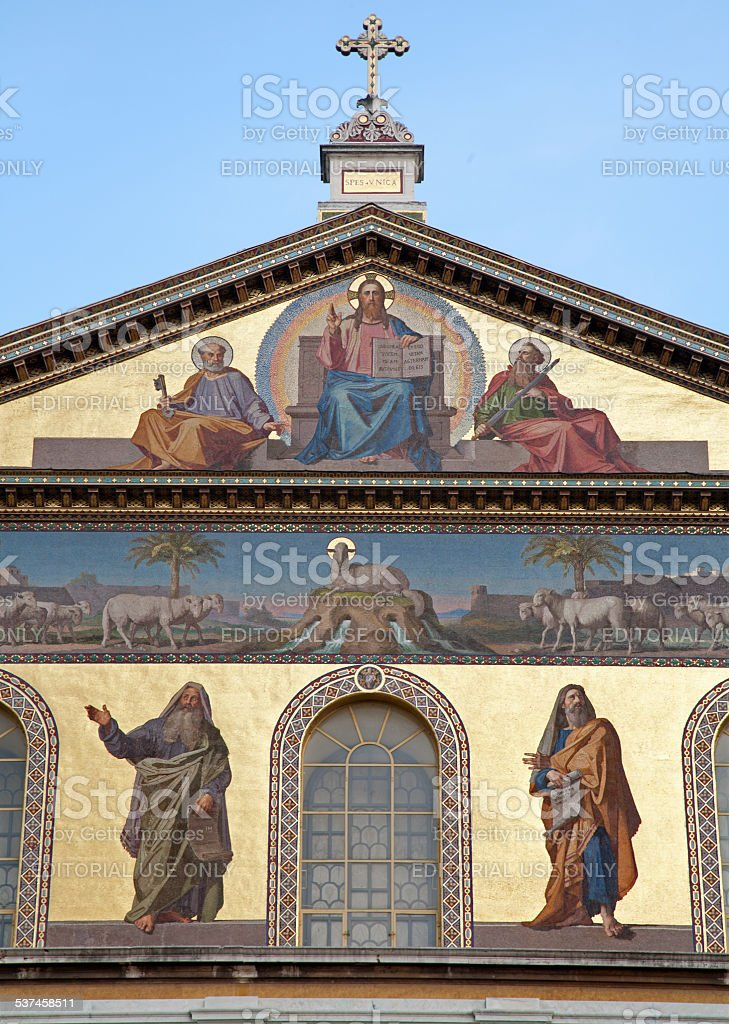 Rome - Mosaic from facade of st. Paul s basilica stock photo