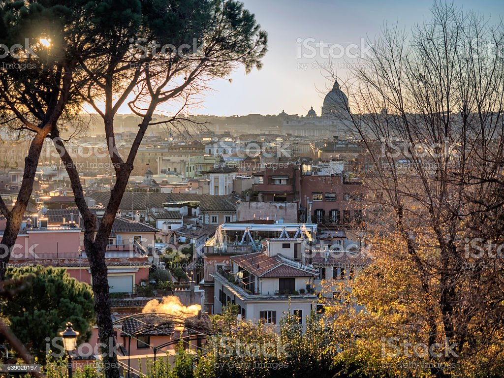 Rome panorama with roof gardens stock photo