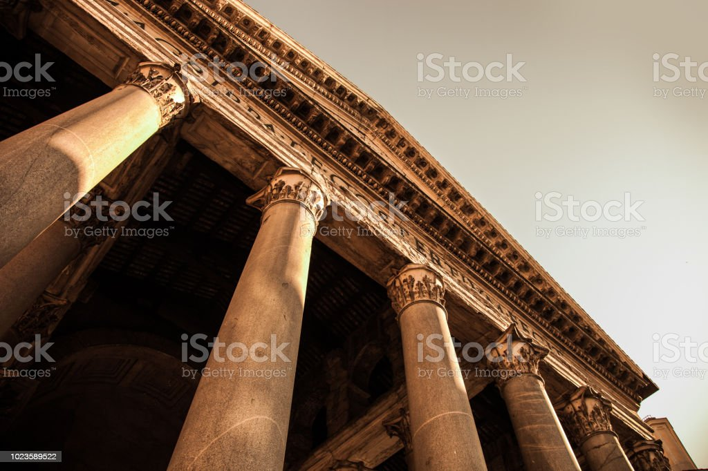 Rome Pantheon - Outdoor columns and entrance stock photo