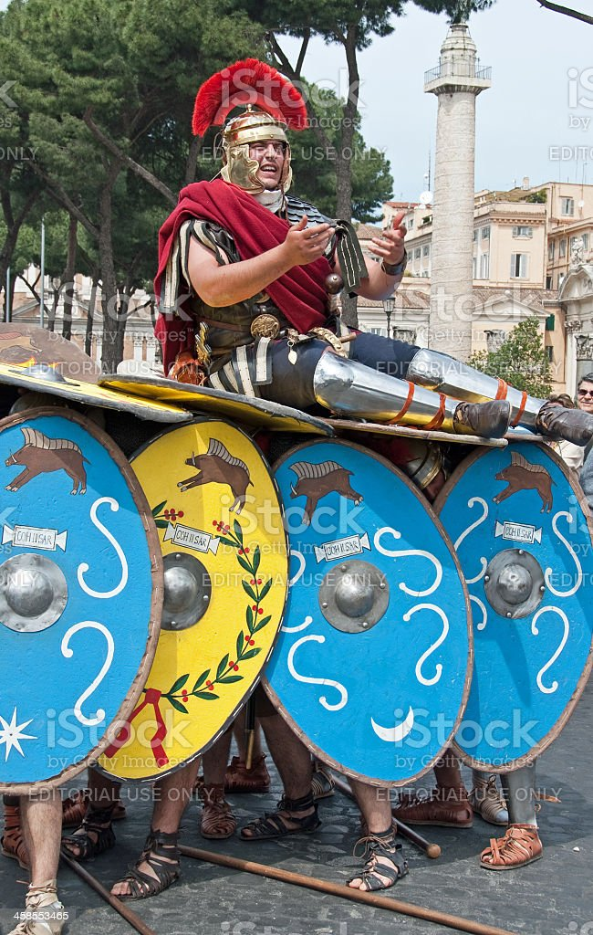 Rome Parade Soldiers Making a Turtle royalty-free stock photo