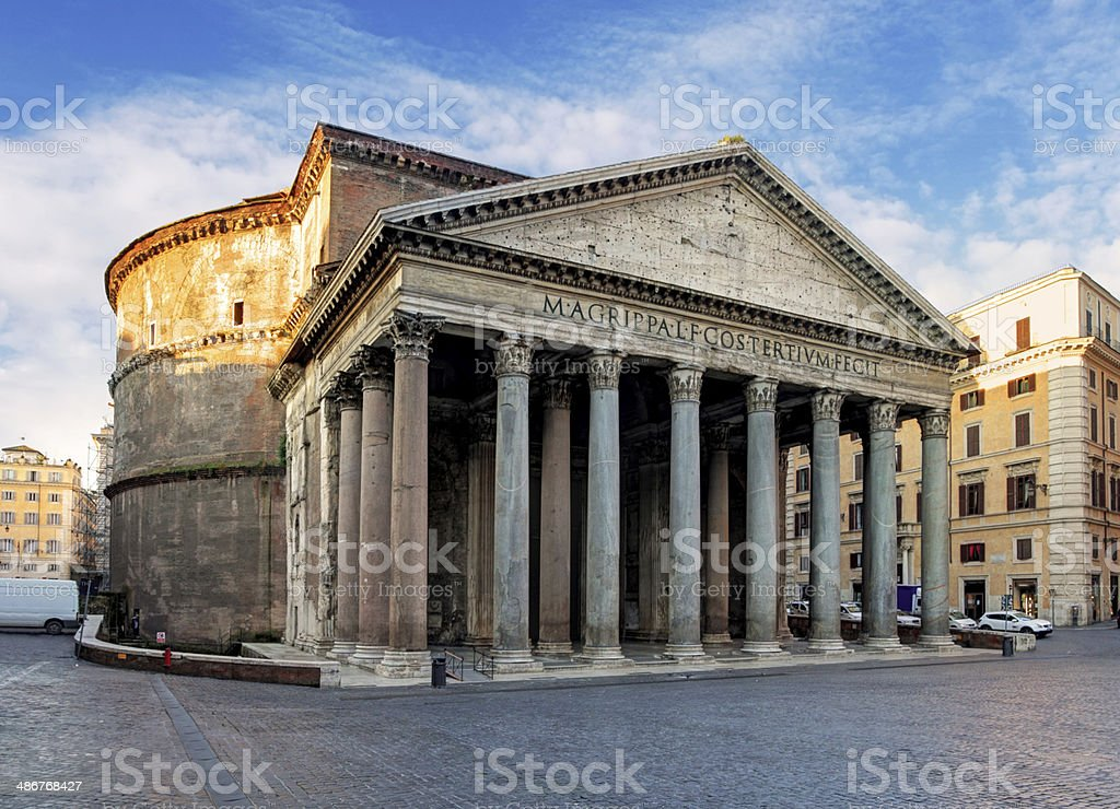 Rome - Piazza della Rotonda and Pantheon in morning stock photo
