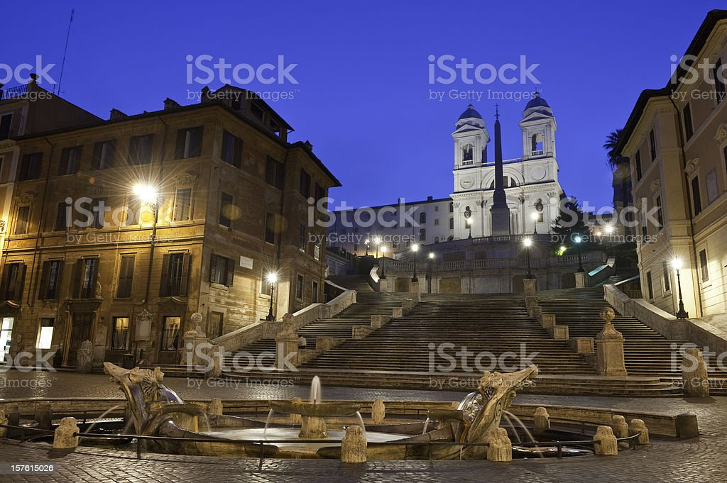 Rome Piazza di Spagna Spanish Steps Fontana della Barcaccia Italy stock photo