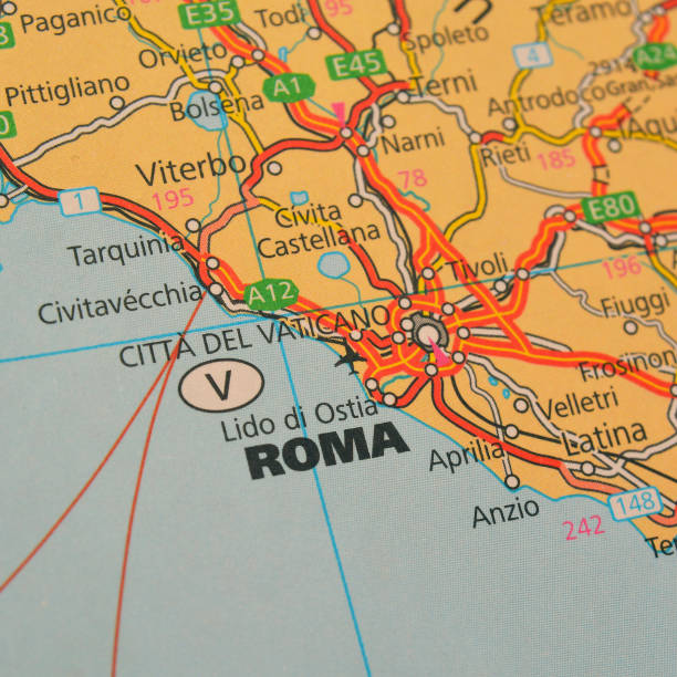 rome Closeup shot of a map of rome, italy lazio stock pictures, royalty-free photos & images