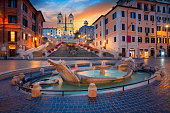 Cityscape image of Spanish Steps in Rome, Italy during sunrise.