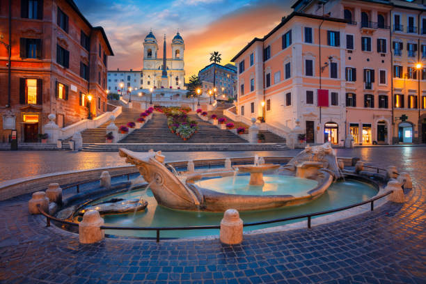 Rome. Cityscape image of Spanish Steps in Rome, Italy during sunrise. rome italy stock pictures, royalty-free photos & images