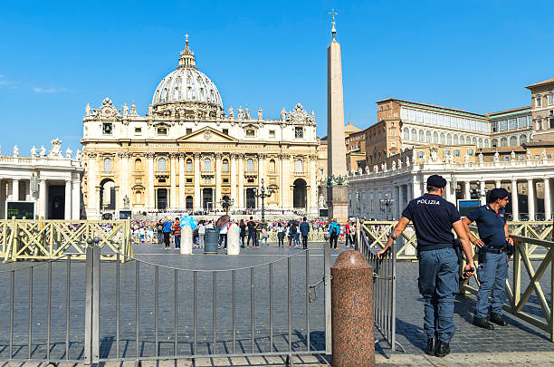 Rome, police officers at the entrance of St. Peter's Square stock photo