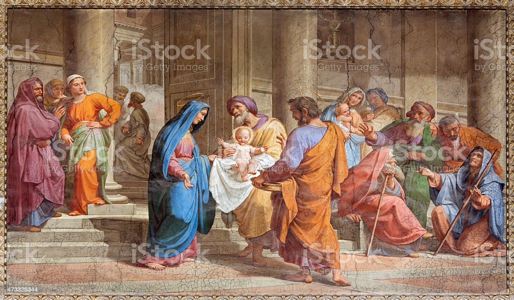 Rome - Presentation in Temple fresco from Saint Augustine church stock photo