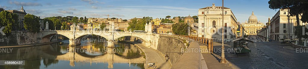 Rome River Tiber sunrise panorama on Vatican City stock photo
