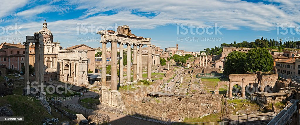 Rome Roman Forum ancient ruins Coliseum Palatine Hill panorama Italy stock photo