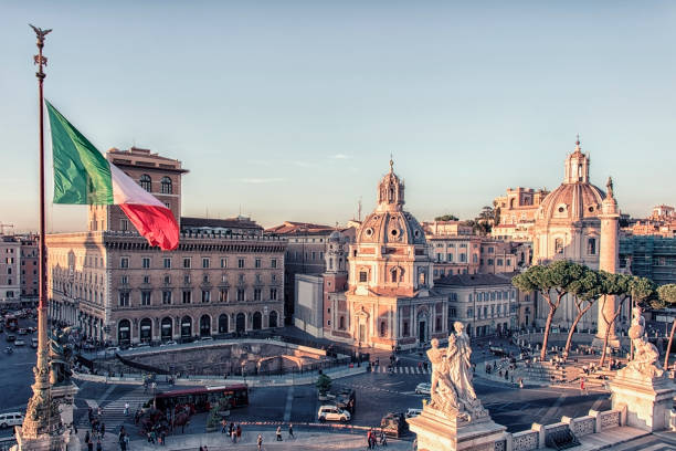 Rome roofs in Italy City of Rome at sunset rome stock pictures, royalty-free photos & images
