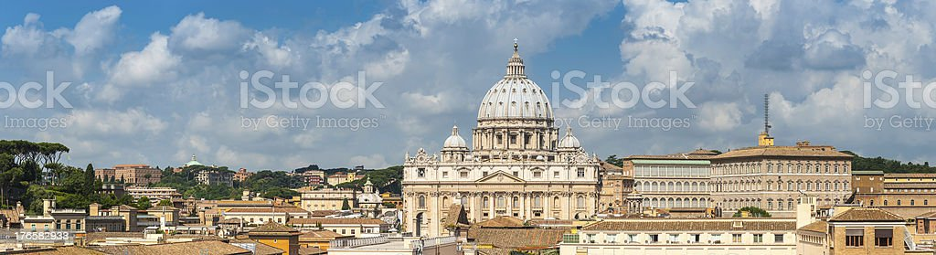 Rome rooftop panorama across Vatican City to St Peters Italy royalty-free stock photo