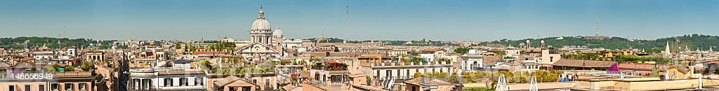 Rome rooftop terraces rotundas and landmarks spring super panorama Italy royalty-free stock photo