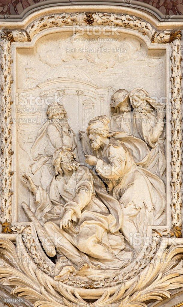 Rome - scene from life of St. Thaddeus the Apostle stock photo