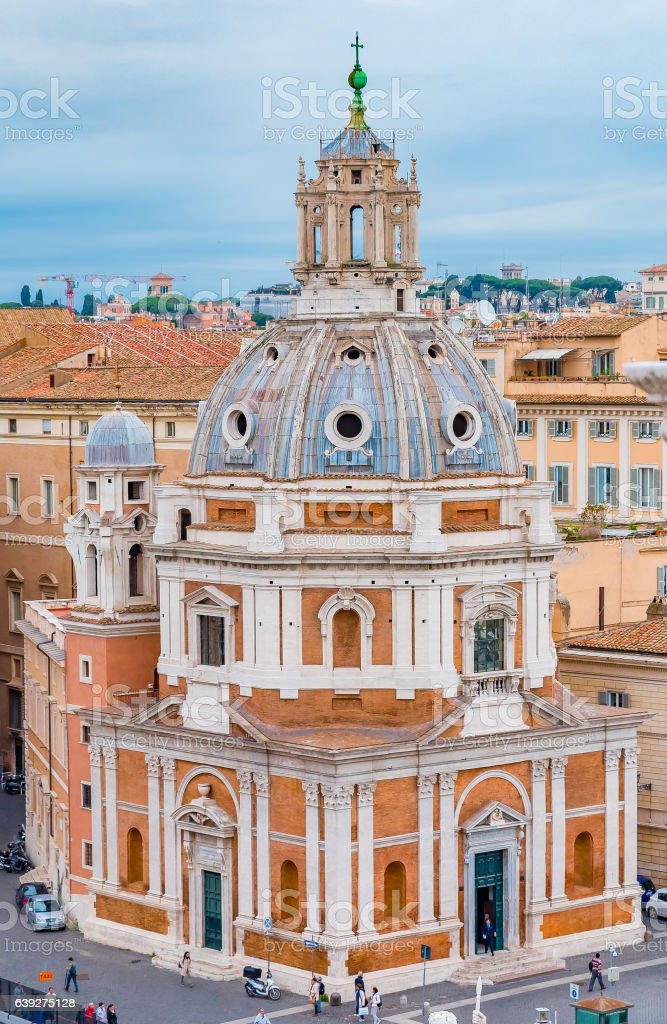 Rome skyline and domes of Santa Maria di Loreto church stock photo