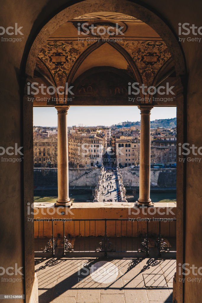 Rome skyline and Sant Angelo Bridge view from Sant Angelo Castle balcony stock photo