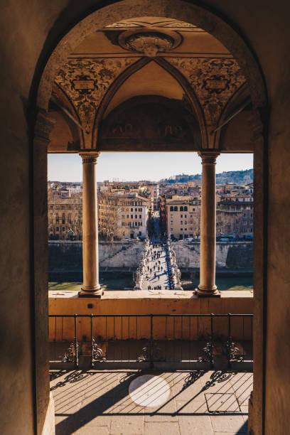 Rome skyline and Sant Angelo Bridge view from Sant Angelo Castle balcony stock photo