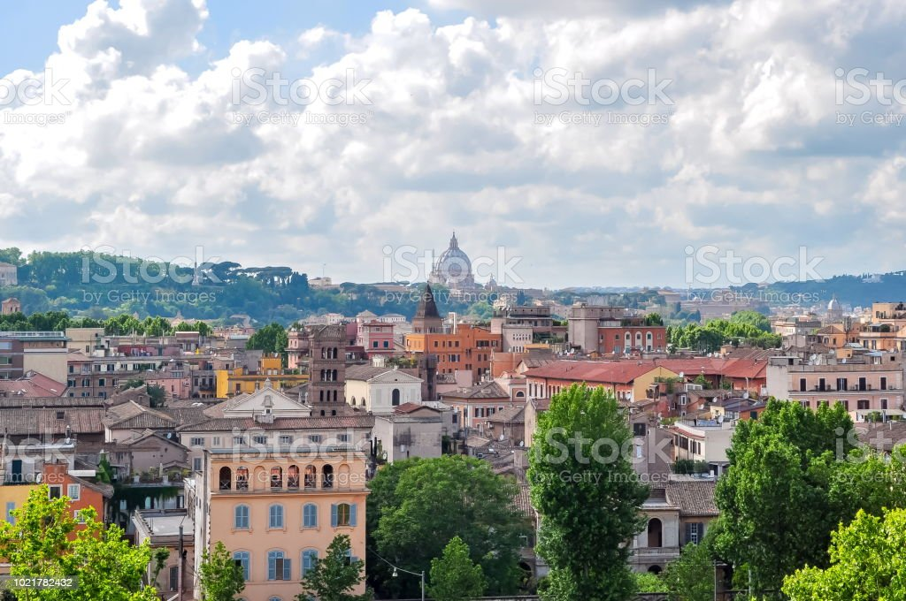 Rome skyline and St. Peter\'s Basilica dome, Italy