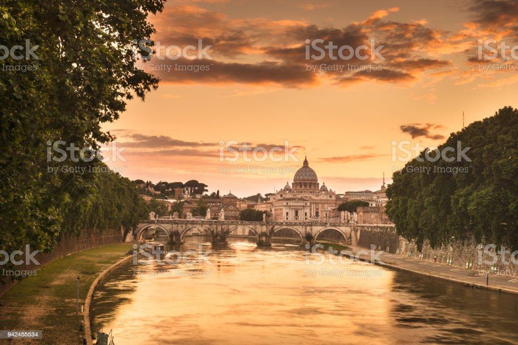 rome skyline at dusk stock photo