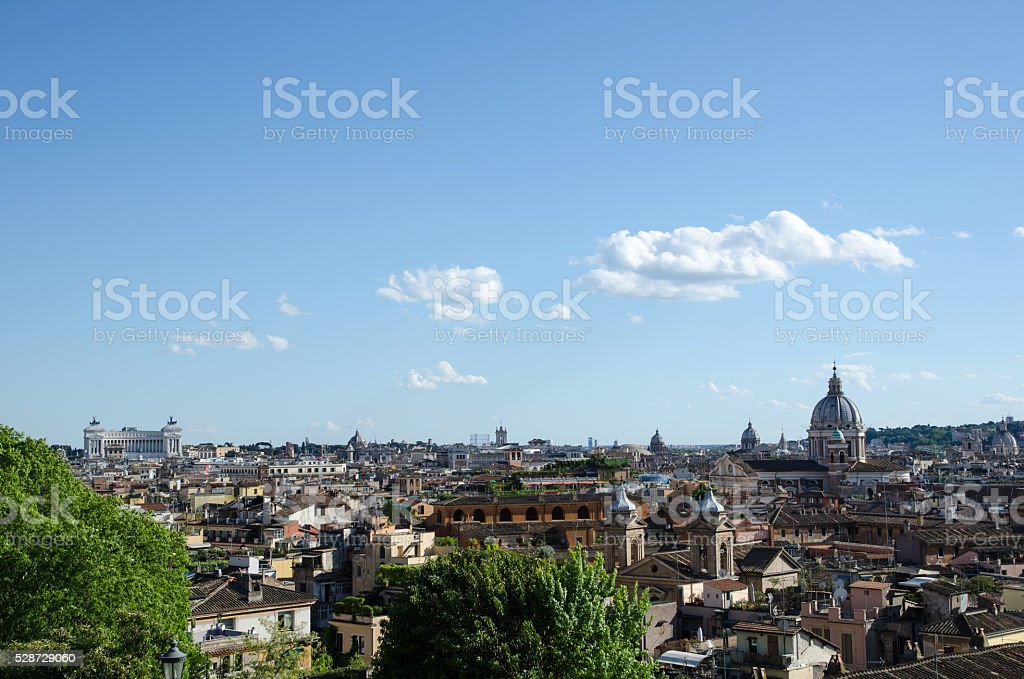 Rome skyline seen from the central park Villa Borghese