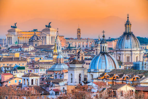 Rome Skyline, Italy Wonderful view of Rome skyline at sunset, Italy rome italy stock pictures, royalty-free photos & images
