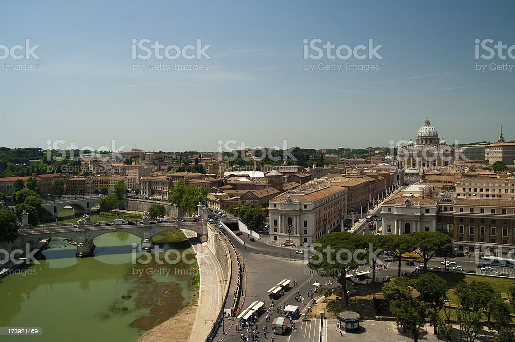 View of Rome with the dome of St. Peter\'s Basilica and Tiber River