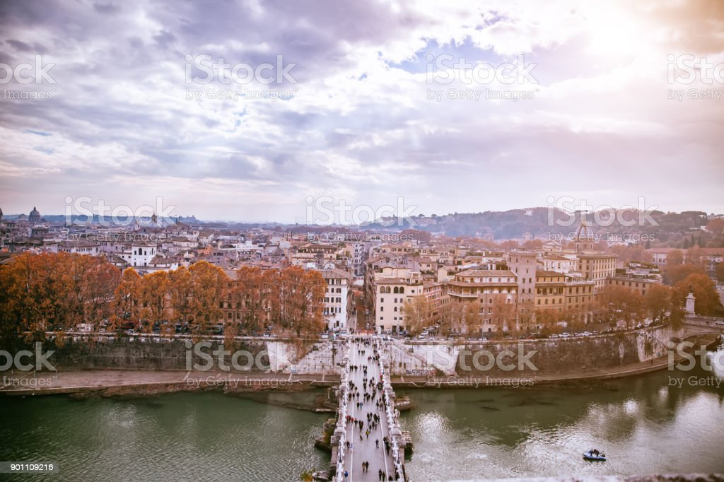 The panoramic view of Rome, Italy.