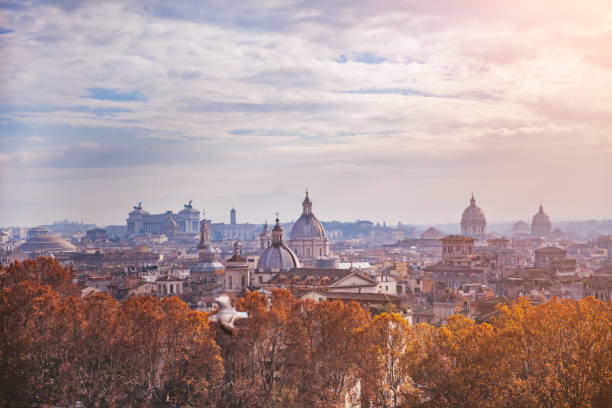 Rome Skyline The panoramic view of Rome, Italy. rome stock pictures, royalty-free photos & images