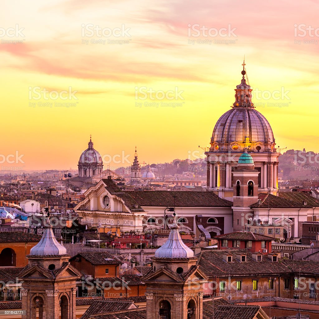 Rome skyline with church cupolas, Italy stock photo
