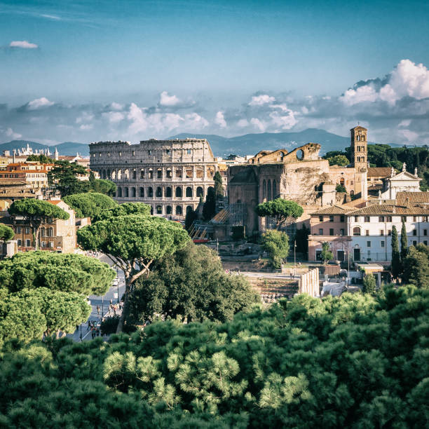 Rome Skyline with Colosseum and Roman Forum, Italy stock photo