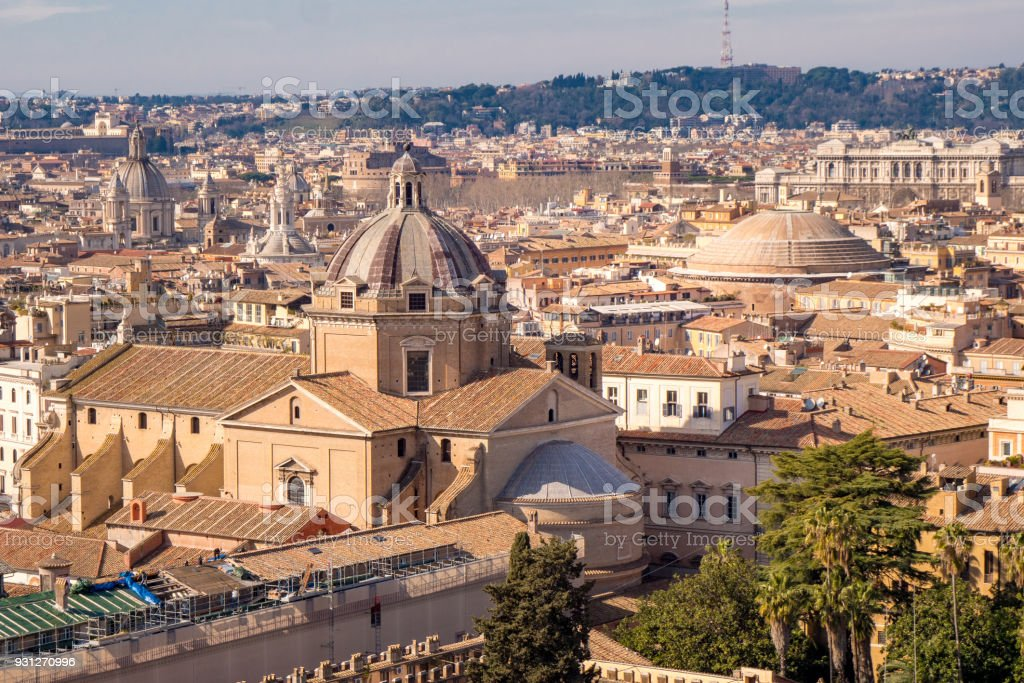 Rome skyline with the Pantheon visible stock photo