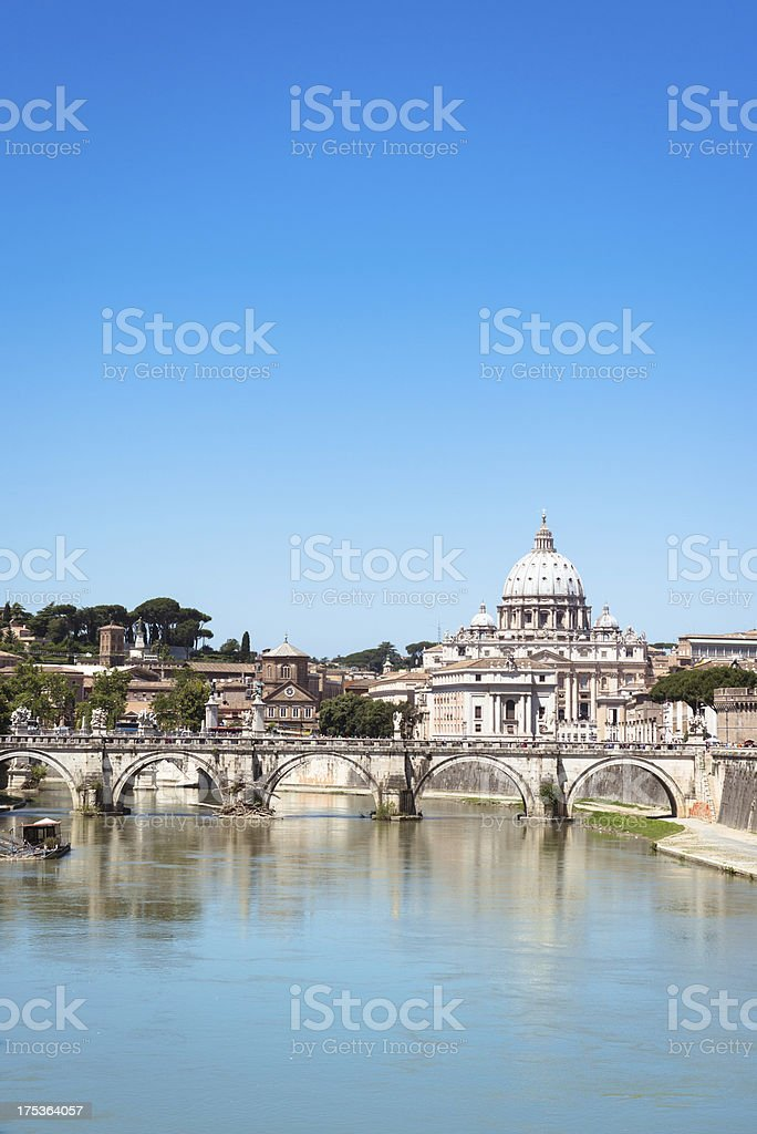 Rome skyline with tiber river stock photo