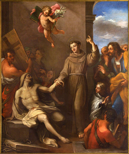 Rome - St. Anthony  raises a man from the death Rome, Italy - March 9, 2016: Rome - The painting St. Anthony of Padua raises a man from the death in church Chiesa di San Silvestro in Capite by Giuseppe Chiari (1695 - 1696). st. anthony of padua stock pictures, royalty-free photos & images