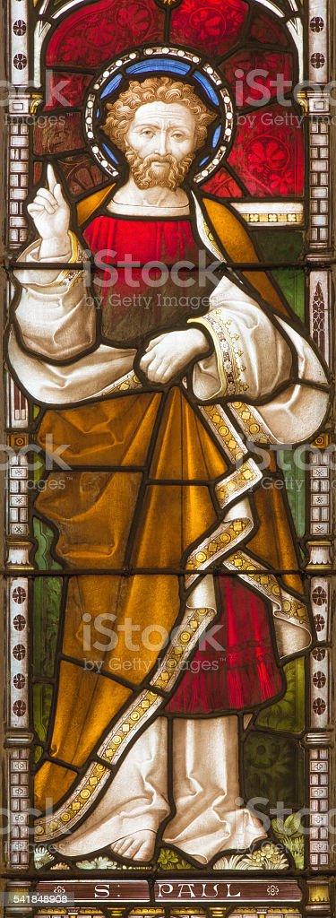 Rome -  St. Paul the apostle on the windowpane stock photo