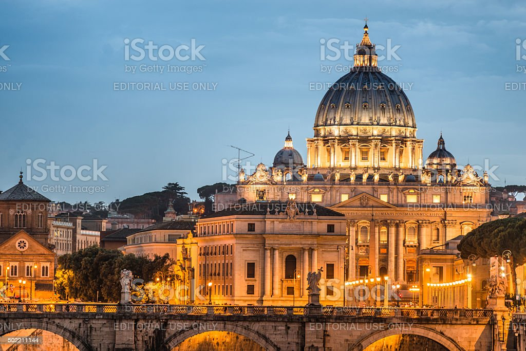 Rome st peter church skyline stock photo