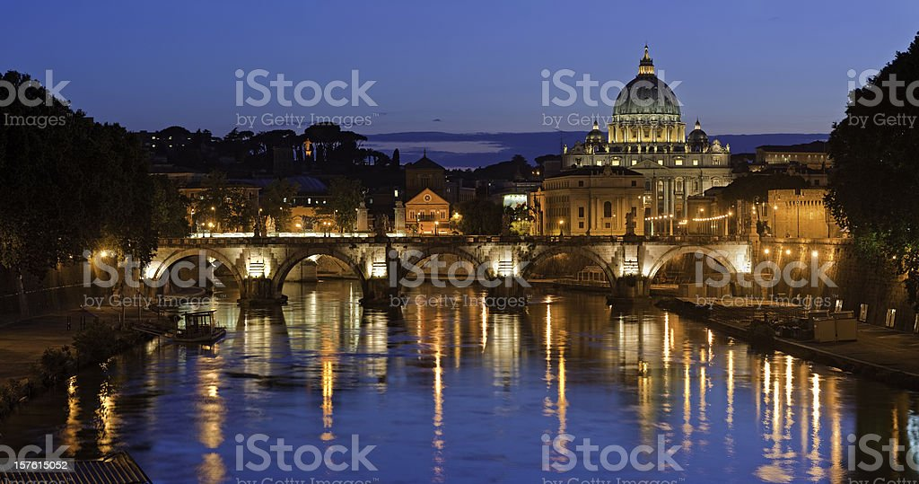 Rome St Peters illuminated Vatican City River Tiber lights Italy stock photo